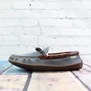 LL BEAN Blue Leather Camp Moc Boat Shoes Size 10 M